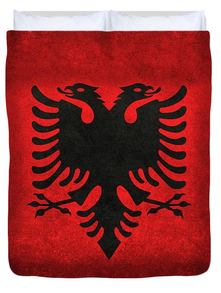 Duvet Cover featuring the digital art National Flag Of Albania With Distressed Vintage Treatment  by Bruce Stanfield