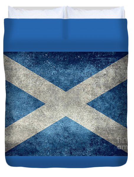 National Flag Of Scotland Vintage Version Duvet Cover