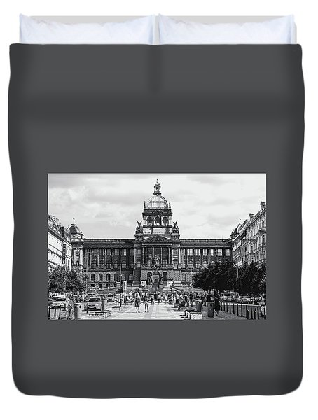 Duvet Cover featuring the photograph National Museum At Wenceslas Square. Prague by Jenny Rainbow