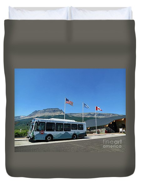Duvet Cover featuring the photograph National Parks. St. Mary Visitor Center At Glacier by Ausra Huntington nee Paulauskaite