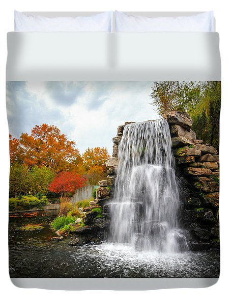 Duvet Cover featuring the photograph National Zoo Waterfall by Ross Henton