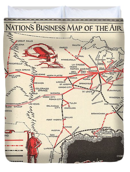 Nations Business Map Of The Air - North America - Air Routes - Vintage Illustrated Map Duvet Cover