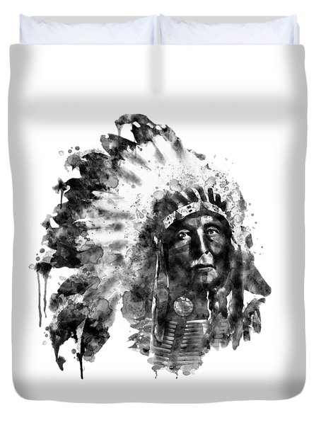 Duvet Cover featuring the mixed media Native American Chief Black And White by Marian Voicu