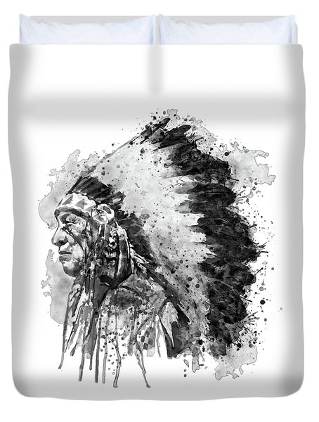 Duvet Cover featuring the mixed media Native American Chief Side Face Black And White by Marian Voicu