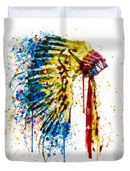 Native American Feather Headdress   Duvet Cover