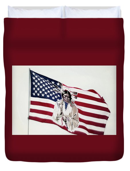 Duvet Cover featuring the photograph Native American Flag by Emanuel Tanjala