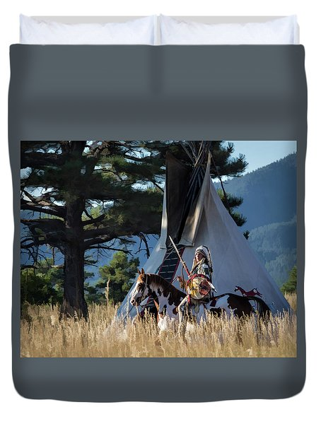 Native American In Full Headdress In Front Of Teepee Duvet Cover by Nadja Rider