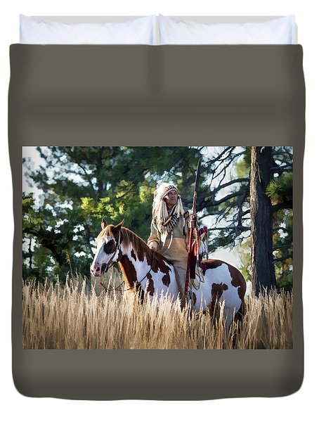 Native American In Full Headdress On A Paint Horse Duvet Cover