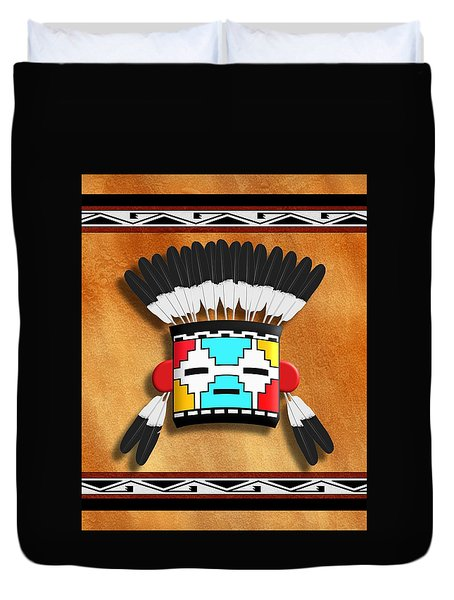 Native American Indian Kachina Mask Duvet Cover