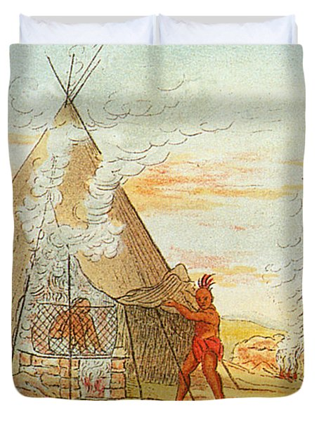 Native American Indian Sweat Lodge Duvet Cover by Science Source