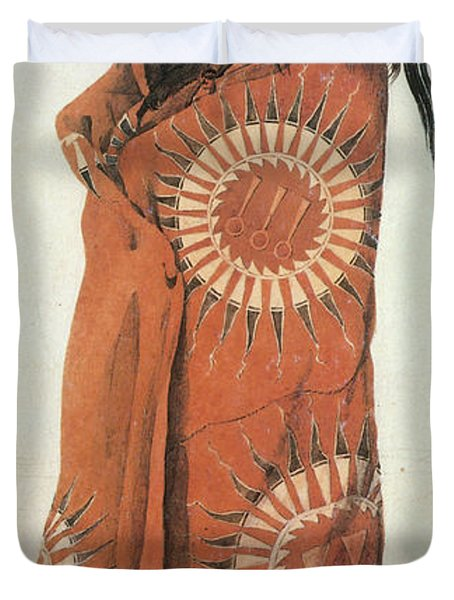 Native American Man In Painted Robe Duvet Cover