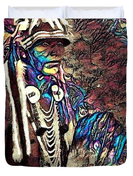 Plains Indian Warrior With Buffalo Headdress In The Trees Duvet Cover