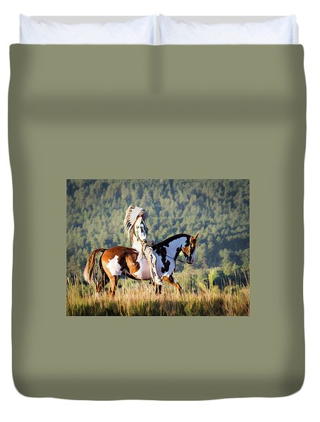 Native American On His Paint Horse Duvet Cover