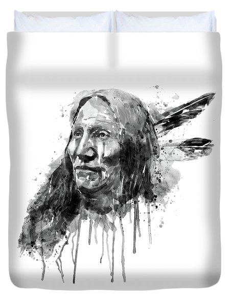 Duvet Cover featuring the mixed media Native American Portrait Black And White by Marian Voicu