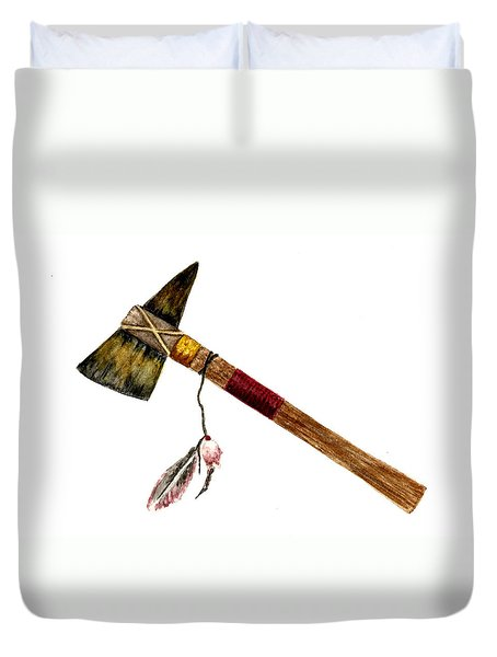 Native American Tomahawk Duvet Cover by Michael Vigliotti