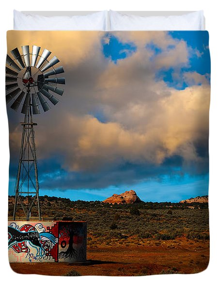 Native American Windmill Duvet Cover