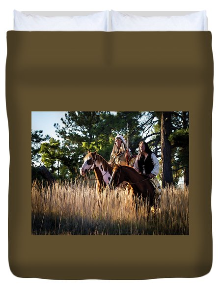 Native Americans On Horses In The Morning Light Duvet Cover by Nadja Rider