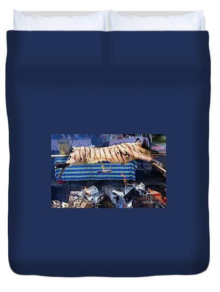 Duvet Cover featuring the photograph Native Barbecue In Taiwan by Yali Shi