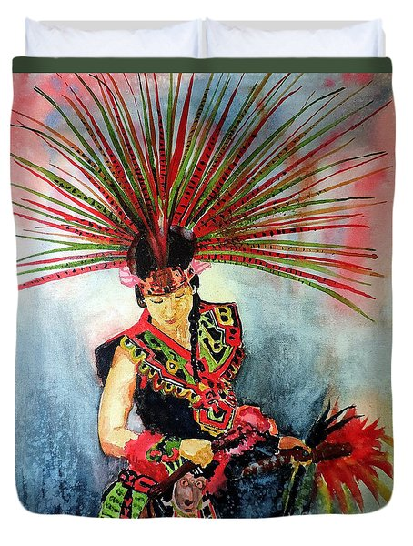 Duvet Cover featuring the painting Native Dancer by Tom Riggs