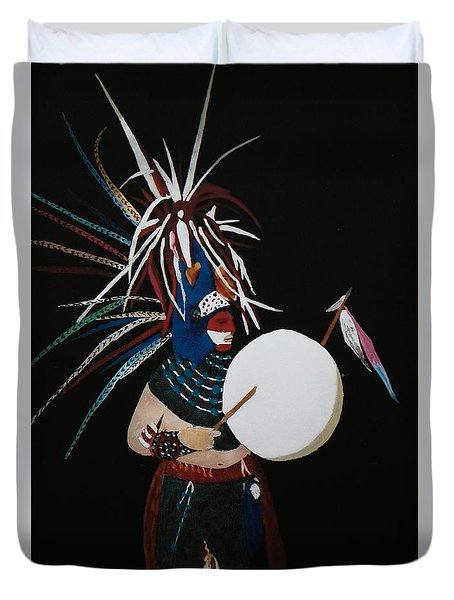 Native Dancer With Drum Duvet Cover