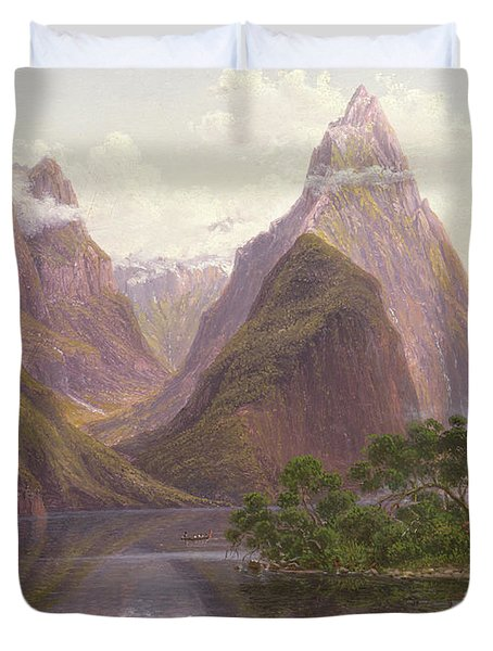 Native Figures In A Canoe At Milford Sound Duvet Cover by Eugen von Guerard