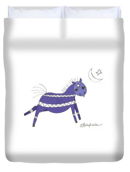 Native Horsey Duvet Cover by Shelley Overton