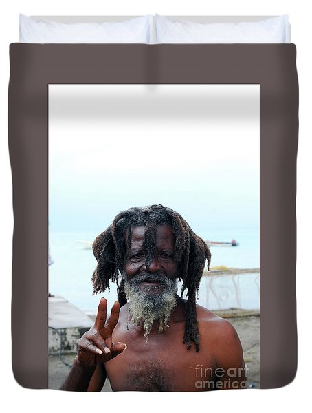 Duvet Cover featuring the photograph Native Man by Gary Wonning