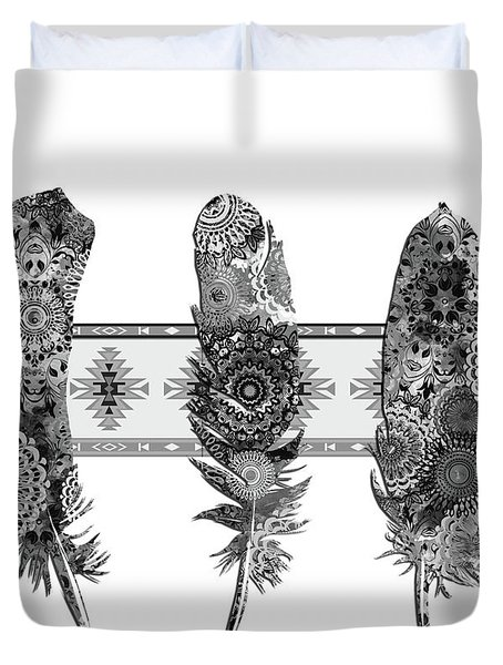 Native Mandala Feathers 5 Duvet Cover