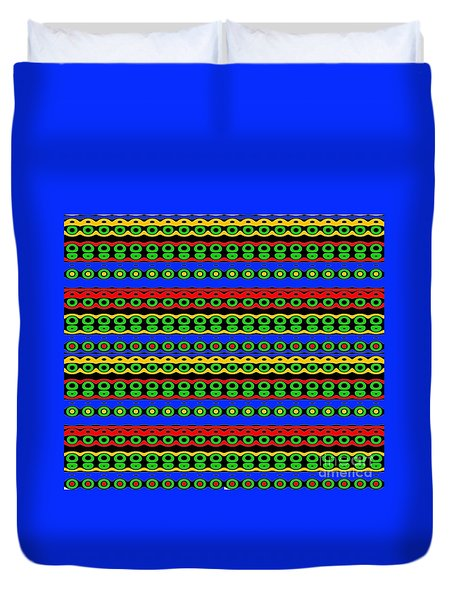 Native Pattern In Bright Colors Duvet Cover by Yali Shi