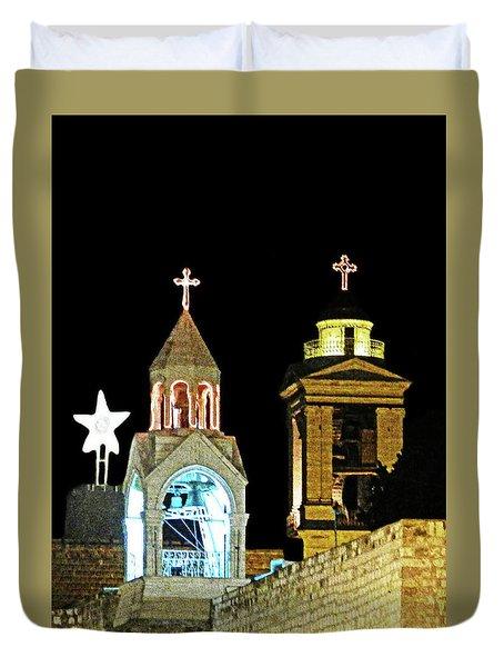 Nativity Church Lights Duvet Cover