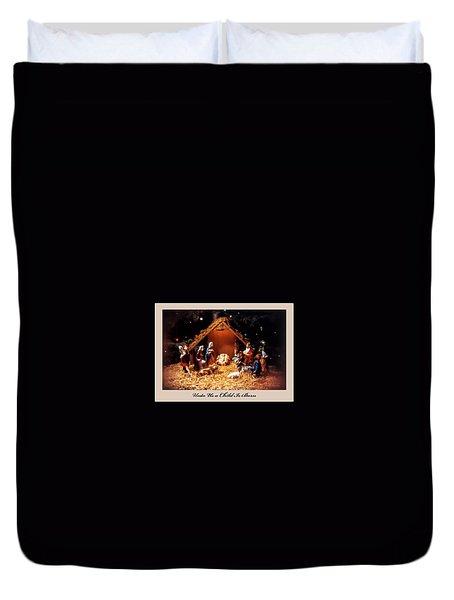 Nativity Scene Greeting Card Duvet Cover