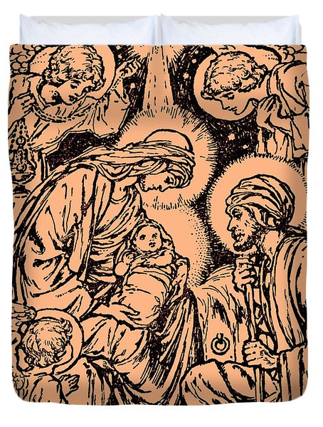 Nativity Scene, New Testament, Bible  Christ Is Born Duvet Cover