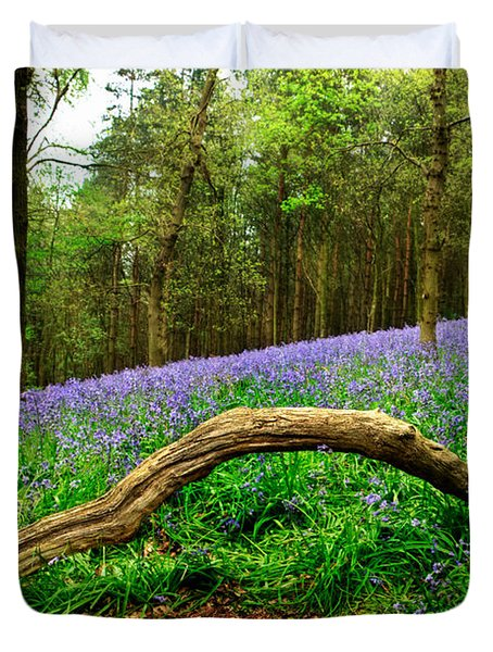 Natural Arch And Bluebells Duvet Cover by John Edwards