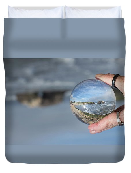 Duvet Cover featuring the photograph Natural Bridge And The Ball by Lora Lee Chapman