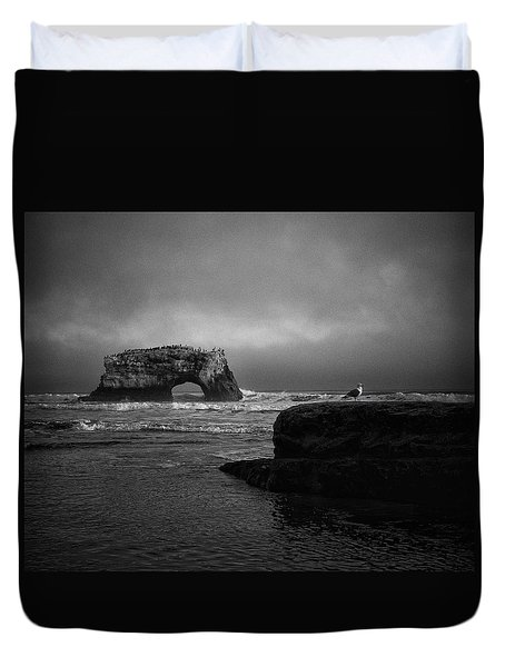 Duvet Cover featuring the photograph Natural Bridge And The Gull by Lora Lee Chapman
