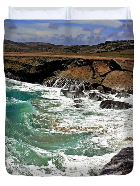 Duvet Cover featuring the photograph Natural Bridge Aruba by Suzanne Stout
