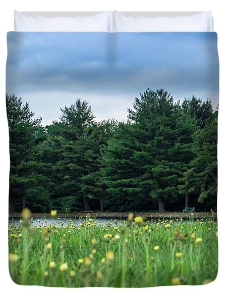 Evergreen Lake - A Groundhog View Duvet Cover