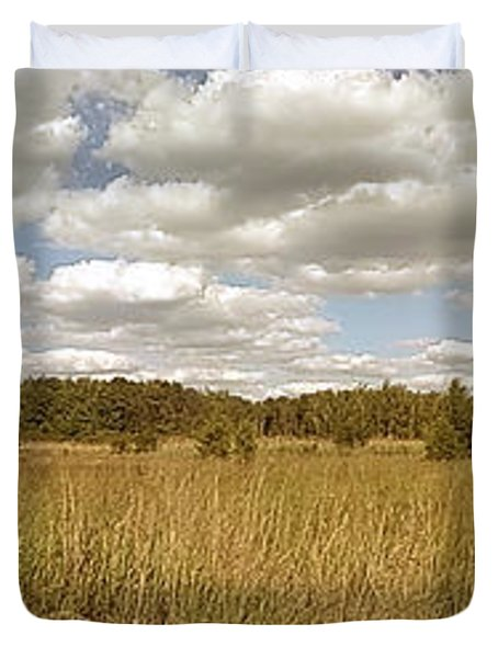 Natural Meadow Landscape Panorama. Duvet Cover by Arletta Cwalina