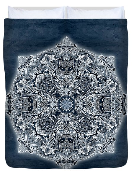 Duvet Cover featuring the digital art Nature Blueprint by Deborah Smith