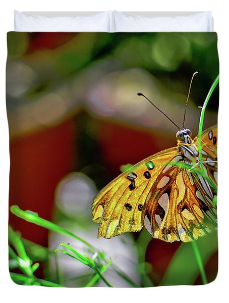 Nature - Butterfly And Plants Duvet Cover