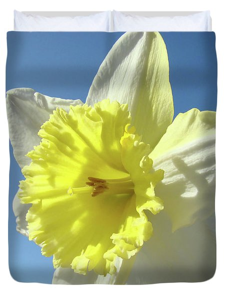 Nature Daffodil Flowers Art Prints Spring Nature Art Duvet Cover by Baslee Troutman