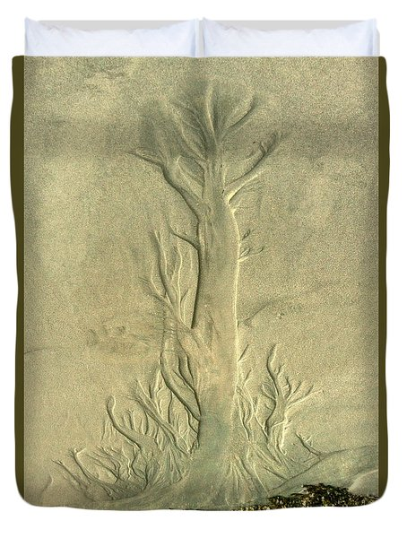 Duvet Cover featuring the photograph Nature Designs In Sand by Myrna Bradshaw