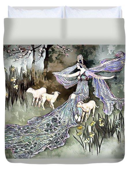 Duvet Cover featuring the digital art Nature Goddess by Pennie McCracken