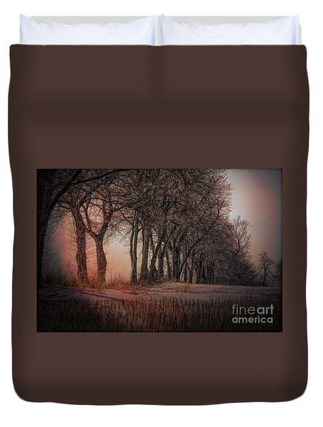 Nature Winter Bare Trees Color  Duvet Cover