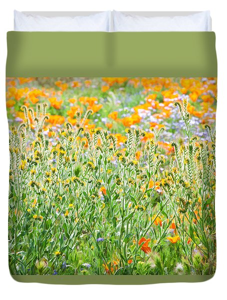 Duvet Cover featuring the photograph Nature's Artwork - California Wildflowers by Ram Vasudev