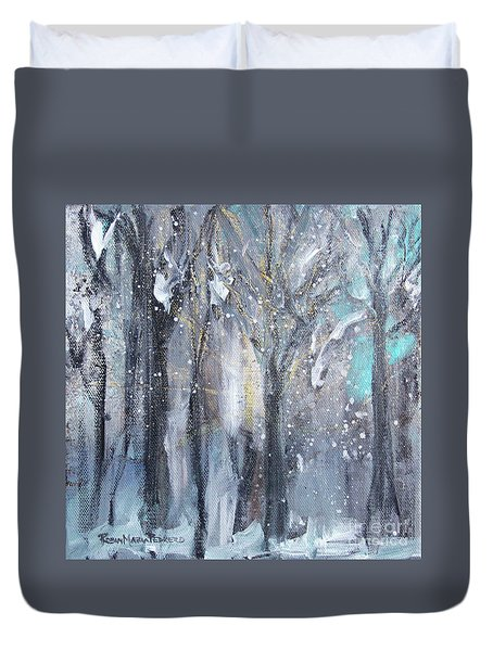 Duvet Cover featuring the painting Nature's Cathedral by Robin Maria Pedrero