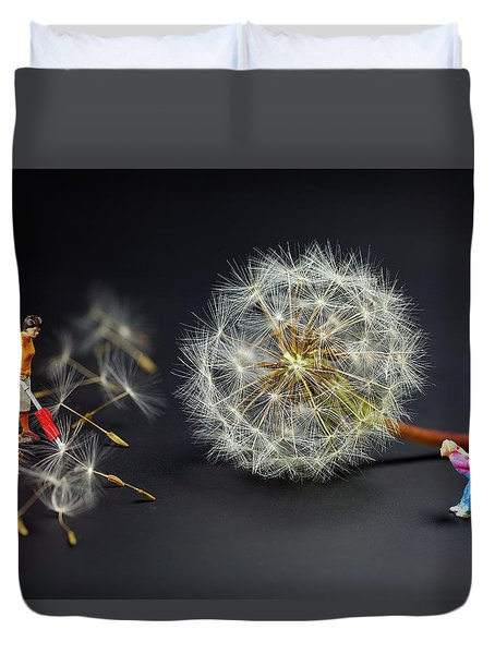 Duvet Cover featuring the painting Naughty Girl Playing Dandelion Little People Big World by Paul Ge
