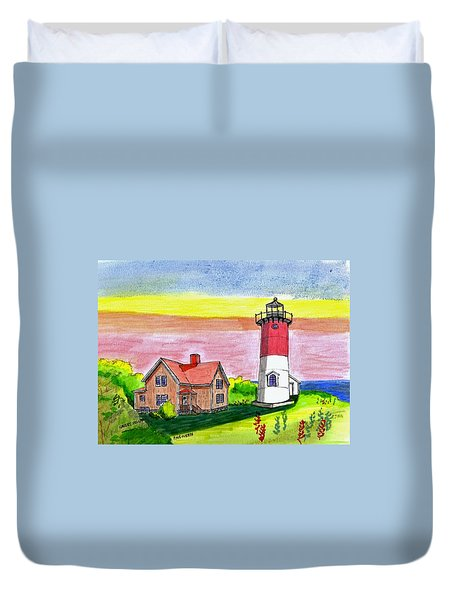 Nauset Point Lighthouse Duvet Cover by Paul Meinerth