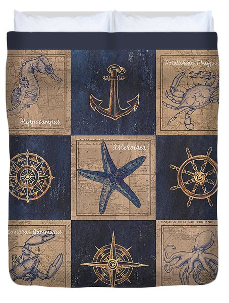 Nautical Burlap Duvet Cover by Debbie DeWitt