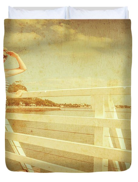 Nautical Snapshot Pinup  Duvet Cover